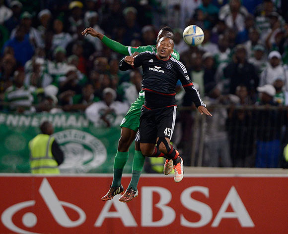 Lehlohonolo Majoro from Orlando Pirates FC and Vusi Shikweni from Bloemfontein Celtic during the Absa Premiership match between Bloemfontein Celtic FC and Orlando Pirates FC at the Free State Stadium  on 26 August 2015. ©Gerhard Steenkamp/Backpage Media