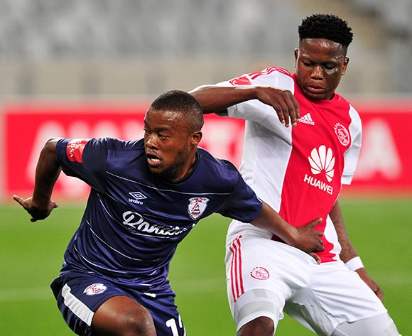 Mbuyiselo Thethani of Free State Stars turns away from Ndiviwe Mdabuka of Ajax Cape Town during the Absa Premiership 2015/16 game between Ajax  Cape Town and Free State Stars at Cape Town Stadium on the 26 of August 2015 ©Ryan Wilkisky/BackpagePix