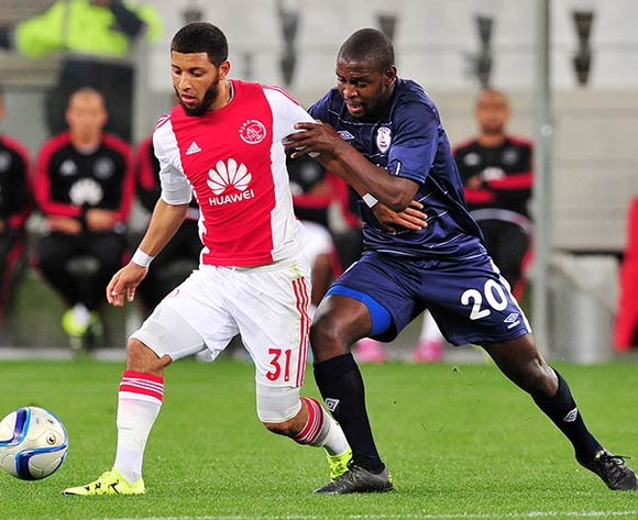 Riyaad Norodien of Ajax Cape Town and Katlego Mashego of Free State Stars battle for possession during the Absa Premiership 2015/16 game between Ajax  Cape Town and Free State Stars at Cape Town Stadium on the 26 of August 2015 ©Ryan Wilkisky/BackpagePix