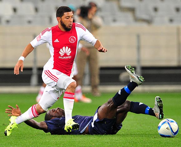Riyaad Norodien of Ajax Cape Town pulls away from Felix Obada of Free State Stars during the Absa Premiership 2015/16 game between Ajax  Cape Town and Free State Stars at Cape Town Stadium on the 26 of August 2015 ©Ryan Wilkisky/BackpagePix