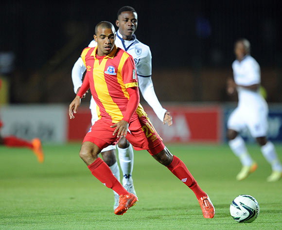 Deolin Mekoa of Maritzburg United is challenged by Papy Faty of Bidvest Wits during the Absa Premiership match between Bidvest Wits and Maritzburg United  on 26 August 2015 at Bidvest Stadium Pic Sydney Mahlangu/ BackpagePix
