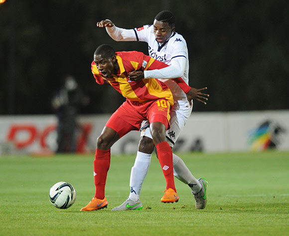 Evans Rusike of Maritzburg United is challenged by Papy Faty of Bidvest Wits during the Absa Premiership match between Bidvest Wits and Maritzburg United  on 26 August 2015 at Bidvest Stadium Pic Sydney Mahlangu/ BackpagePix