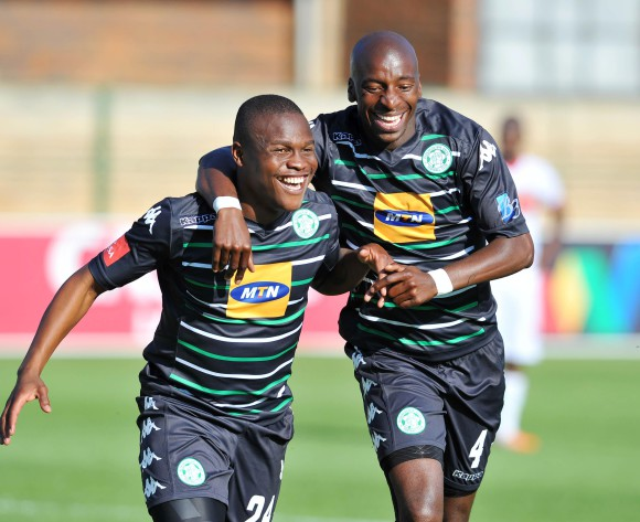 Helder Pelembe of Bloemfontein Celtic (l) celebrates his goal with teammate Musa Nyatama during the 2015/16 Absa Premiership football match between University of Pretoria and Bloemfontein Celtic at Tuks Stadium, Pretoria on 27 September 2015 ©Bertin Basson/BackpagePix