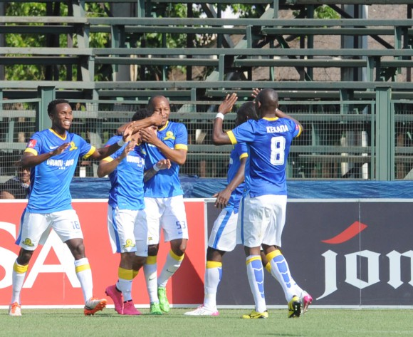 Keagan Dolly of Mamelodi Sundowns celebrates a goal with teammates   during the Absa Premiership match between Jomo Cosmos and Mamelodi Sundowns on 27 September 2015 at Olen Park Stadium  Pic Sydney Mahlangu/ BackpagePix