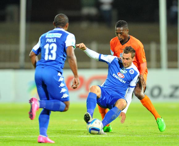 Bradley Grobler of Supersport United challenged by Carlington Nyadombo of Polokwane City during the 2015 Telkom Knockout match between Polokwane City and Supersport United at the Old Peter Mokaba Stadium in Polokwane, South Africa on September 30, 2015 ©Samuel Shivambu/BackpagePix