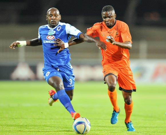Linda Shiba of Polokwane City challenged by Sibusiso Khumalo of Supersport United during the 2015 Telkom Knockout match between Polokwane City and Supersport United at the Old Peter Mokaba Stadium in Polokwane, South Africa on September 30, 2015 ©Samuel Shivambu/BackpagePix