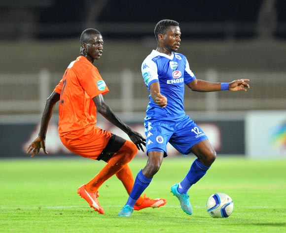 Enocent Mkhabela of Supersport United challenged by Baptiste Faye of Polokwane City during the 2015 Telkom Knockout match between Polokwane City and Supersport United at the Old Peter Mokaba Stadium in Polokwane, South Africa on September 30, 2015 ©Samuel Shivambu/BackpagePix