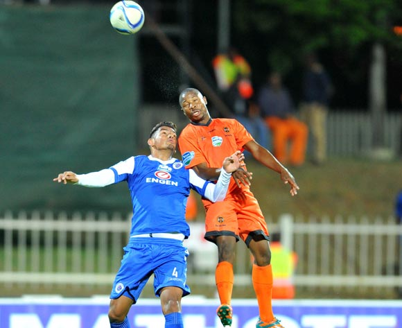 Puleng Tlolane of Polokwane City challenged by Clayton Daniels of Supersport United during the 2015 Telkom Knockout match between Polokwane City and Supersport United at the Old Peter Mokaba Stadium in Polokwane, South Africa on September 30, 2015 ©Samuel Shivambu/BackpagePix