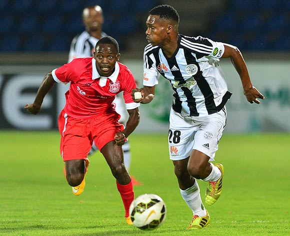 Mpho Kgaswane of Mochudi Chiefs and Hendrick Moyo of Gaborone United during the 2015/16 beMobile Premiership football match between Mochudi Chiefs and Gaborone United at the National Stadium in Gaborone on 12 September 2015 ©Gavin Barker/BackpagePix