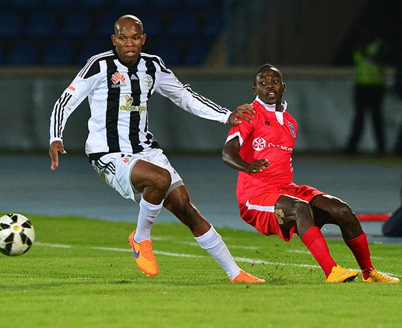 Lemponye Tshireletso of Mochudi Chiefs (l) challenged by  Hendrick Moyo of Gaborone United during the 2015/16 beMobile Premiership football match between Mochudi Chiefs and Gaborone United at the National Stadium in Gaborone on 12 September 2015 ©Gavin Barker/BackpagePix