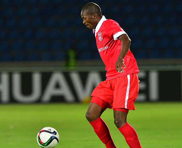 Osego Gaotewe of Gaborone United during the 2015/16 beMobile Premiership football match between Mochudi Chiefs and Gaborone United at the National Stadium in Gaborone on 12 September 2015 ©Gavin Barker/BackpagePix