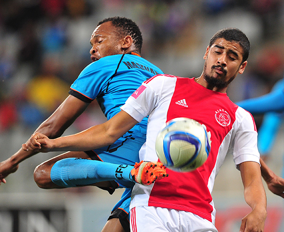 Abbubaker Mobara of Ajax Cape Town and Punch Masenamela of Polokwane City battle for possession during the Absa Premiership 2015/16 game between Ajax Cape Town and Polokwane City at Cape Town Stadium, Cape Town on 12 September 2015 ©Ryan Wilkisky/BackpagePix