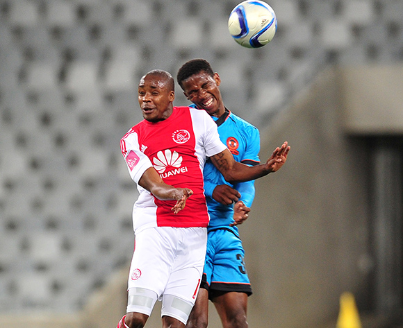 Bantu Mzwakali of Ajax Cape Town and Mfundo Phungwayo of Polokwane City battle in the air during the Absa Premiership 2015/16 game between Ajax Cape Town and Polokwane City at Cape Town Stadium, Cape Town on 12 September 2015 ©Ryan Wilkisky/BackpagePix