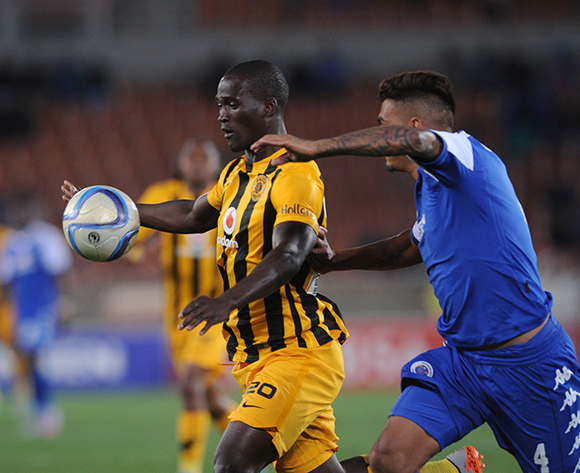 Clayton Daniels of Supersport United tackles Siphelele Mthembu of Kaizer Chiefs  during the Absa Premiership match between Supersport United and Kaizer Chiefs  on 12 September 2015 at Peter Mokaba Stadium Pic Sydney Mahlangu/ BackpagePix