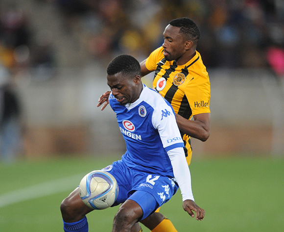 Enocent Mkhabela of Supersport United is challenged by Bernard Parker of Kaizer Chiefs  during the Absa Premiership match between Supersport United and Kaizer Chiefs  on 12 September 2015 at Peter Mokaba Stadium Pic Sydney Mahlangu/ BackpagePix