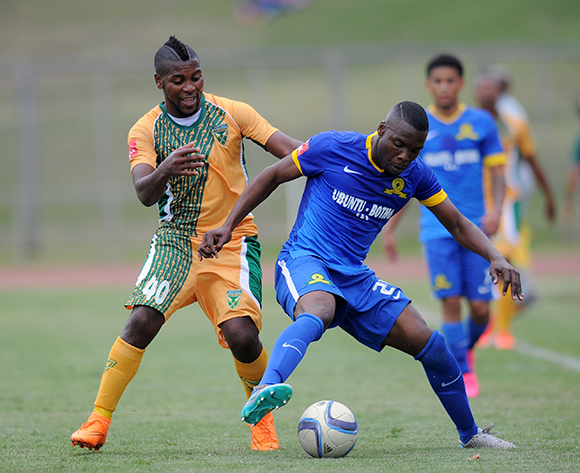 Siyanda Zwane of Mamelodi Sundowns challenged by Mabhudi Khenyeza of Golden Arrows during the Absa Premiership 2015/16 match between Golden Arrows and Mamelodi Sundowns at Chatsworth Stadium, Chatsworth on the 12 September 2015 ©Muzi Ntombela/BackpagePix