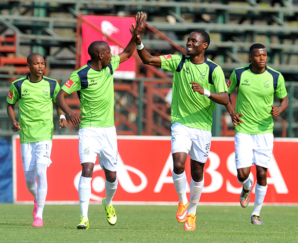 Robert Ngambi of Platinum Stars celebrates his goal with his teammates during the Absa Premiership match between Jomo Cosmos and Platinum Stars at Olen Park in Potchefstroom, South Africa on September 13, 2015 ©Samuel Shivambu/BackpagePix