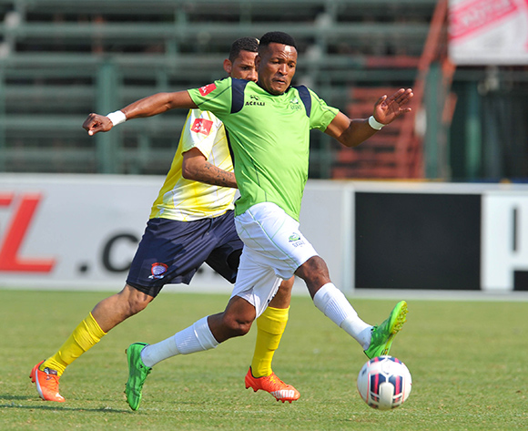 Tlou Segolela of Platinum Stars challenged by Chesyln Jampies of Jmom Cosmos during the Absa Premiership match between Jomo Cosmos and Platinum Stars at Olen Park in Potchefstroom, South Africa on September 13, 2015 ©Samuel Shivambu/BackpagePix