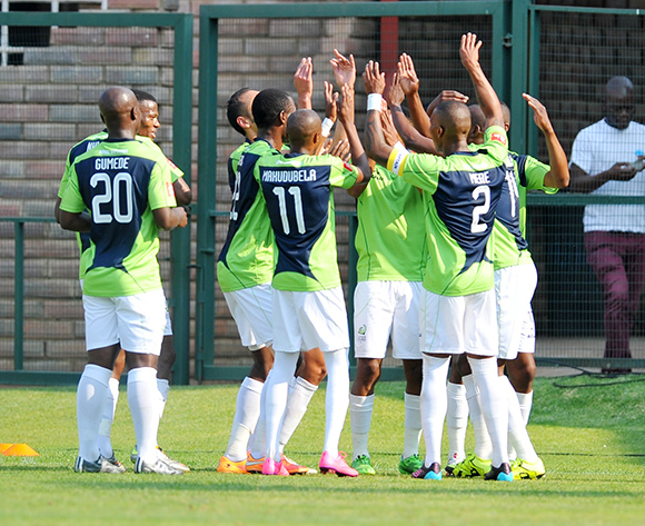 Eleazar Rodgers of Platinum Stars celebrates his goal with his teammates during the Absa Premiership match between Jomo Cosmos and Platinum Stars at Olen Park in Potchefstroom, South Africa on September 13, 2015 ©Samuel Shivambu/BackpagePix