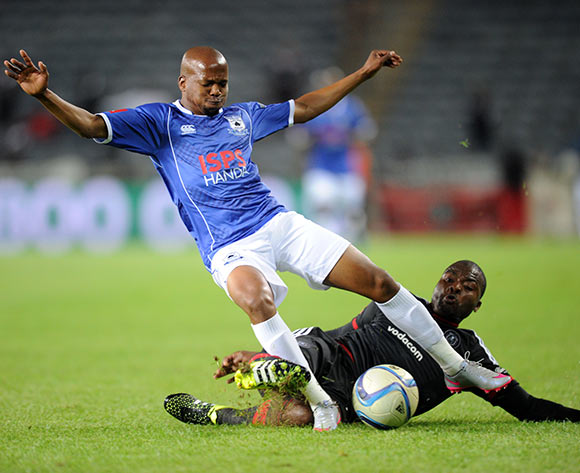 Aubrey Ngoma of Black Aces is tackled by Rooi Mahamutsa of Orlando Pirates during the Absa Premiership match between Orlando Pirates and Black Aces  on 18 September 2015 at Orlando Stadium Pic Sydney Mahlangu/ BackpagePix