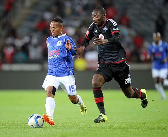 Bethuel Tukane of Black Aces is challenged by Rooi Mahamutsa of Orlando Pirates during the Absa Premiership match between Orlando Pirates and Black Aces  on 18 September 2015 at Orlando Stadium Pic Sydney Mahlangu/ BackpagePix