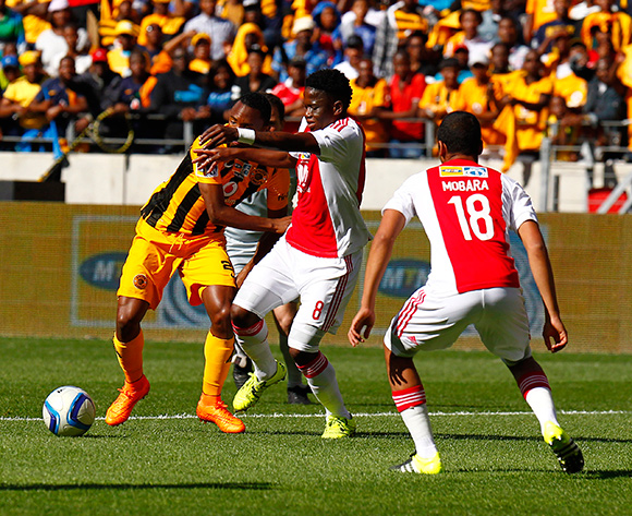 Bernard Parker of Kaizer Chiefs (L) and Ndiviwe Mdabuka of Ajax Cape Town (R do battle for the ball during the 2015 MTN 8 Final football match between Ajax Cape Town and Kaizer Chiefs at Nelson Mandela Bay Stadium, Port Elizabeth, 19 September 2015  ©Michael Sheehan/BackpagePix
