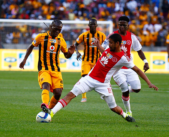 Reneilwe Letsholonyane of Kaizer Chiefs  (L) and Asive Langwe of Ajax Cape Town (R) do battle for the ball during the 2015 MTN 8 Final football match between Ajax Cape Town and Kaizer Chiefs at Nelson Mandela Bay Stadium, Port Elizabeth, 19 September 2015  ©Michael Sheehan/BackpagePix