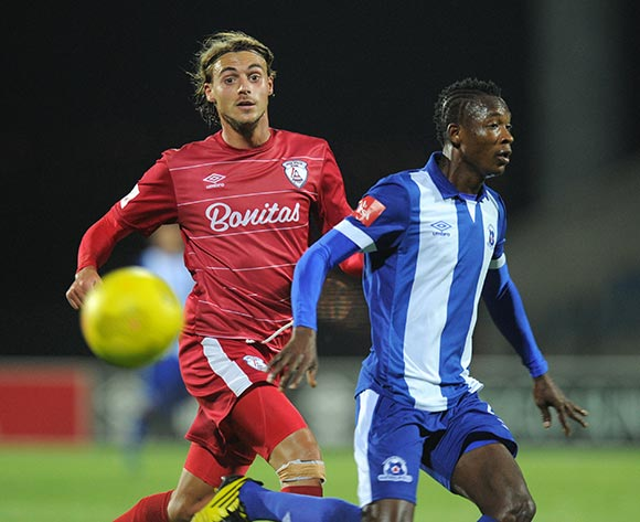 John Pantsil of Maritzburg United battles with Andrea Fileccia of Free State Stars during the Absa Premiership 2015/16 match between Maritzburg United and Free State Stars at Harry Gwala Stadium, Pietermaritzburg on the 22 September 2015 ©Muzi Ntombela/BackpagePix