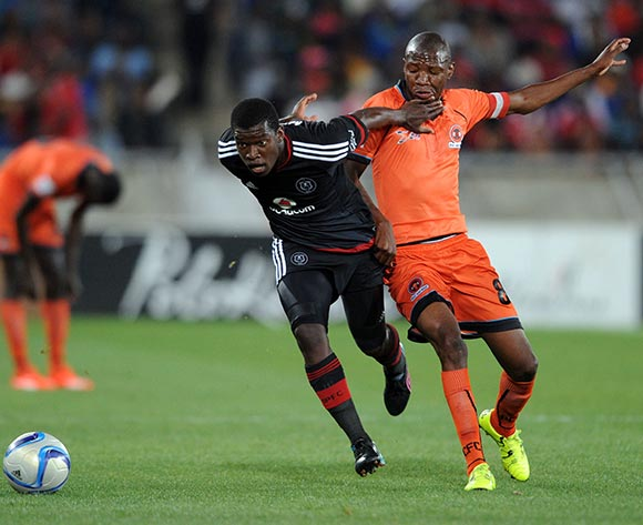 Sifiso Myeni of Orlando Pirates is challenged by Jabulani Maluleke of Polokwane City during the Absa Premiership match between Polokwane City and Orlando Pirates on 22 September 2015 at Peter Mokaba Stadium Pic Sydney Mahlangu/ BackpagePix