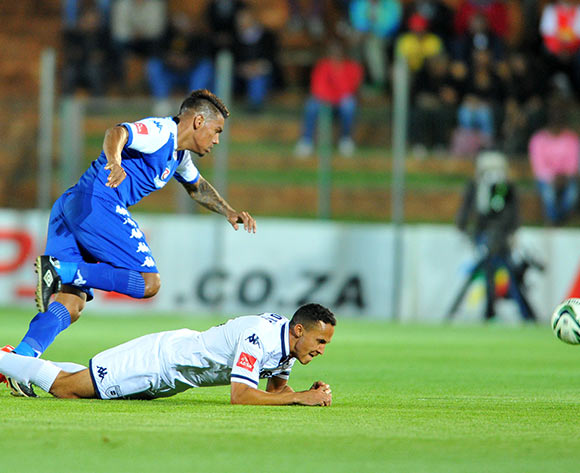 Henrico Botes of Bidvest Wits challenged by Clayton Daniels of Supersport United during the Absa Premiership match between Bidvest Wits and Supersport United at the Bidvest Stadium in Johannesburg, South Africa on September 22, 2015 ©Samuel Shivambu/BackpagePix