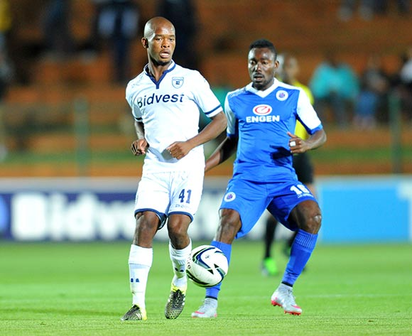 Phumlani Ntshangase of Bidvest Wits challenged by Dove Wome of Supersport United during the Absa Premiership match between Bidvest Wits and Supersport United at the Bidvest Stadium in Johannesburg, South Africa on September 22, 2015 ©Samuel Shivambu/BackpagePix