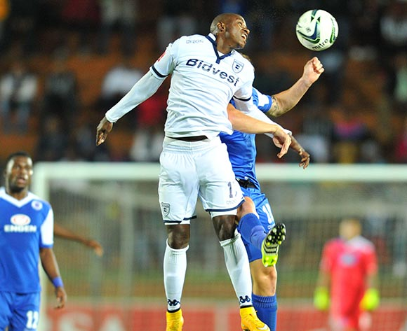 Papy Faty of Bidvest Wits challenged by Jeremy Brockie of Supersport United during the Absa Premiership match between Bidvest Wits and Supersport United at the Bidvest Stadium in Johannesburg, South Africa on September 22, 2015 ©Samuel Shivambu/BackpagePix