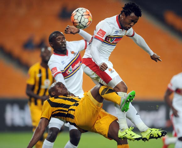 Willard Katsande of Kaizer Chiefs is challenged by Partson Jaure of University Of Pretoria during the Absa Premiership match between Kaizer Chiefs and University of Pretoria on 23 September 2015 at FNB Stadium Pic Sydney Mahlangu/ BackpagePix