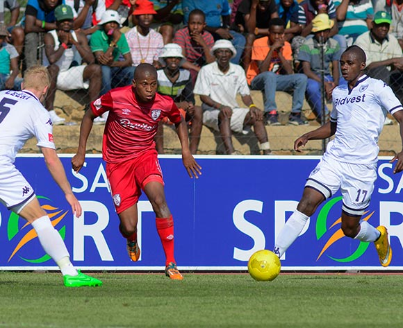 Danny Venter of Free State Stars and Papy Faty of Bidvest Wits during the Absa Premiership match between Free State Stars and Bidvest Wits on 26 September 2015 at Goble Park, Bethlehem ©Frikkie Kapp /BackpagePix