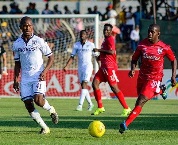 Phumlani Ntshangase of Bidvest Wits and Katlego Mashego of Free State Stars during the Absa Premiership match between Free State Stars and Bidvest Wits on 26 September 2015 at Goble Park, Bethlehem ©Frikkie Kapp /BackpagePix
