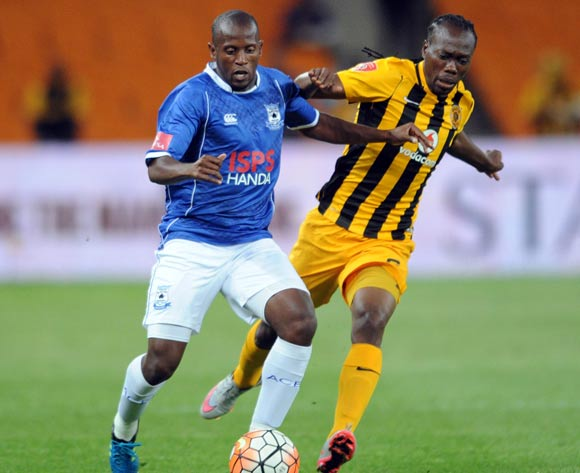 Vincent Kobola of Black Aces is challenged by Reneilwe Letsholonyane of Kaizer Chiefs  during the Absa Premiership match between Kaizer Chiefs and Black Aces  on 27 October 2015 at FNB Stadium Pic Sydney Mahlangu/ BackpagePix