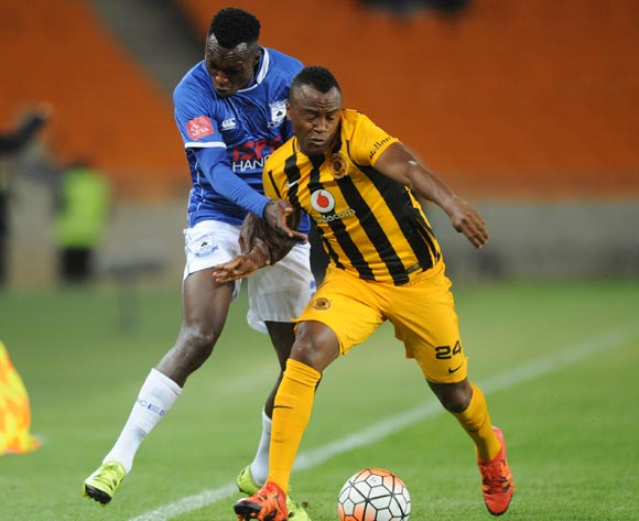 Sibusiso Masina of Black Aces is challenged by Tsepo Masilela of Kaizer Chiefs during the Absa Premiership match between Kaizer Chiefs and Black Aces  on 27 October 2015 at FNB Stadium Pic Sydney Mahlangu/ BackpagePix