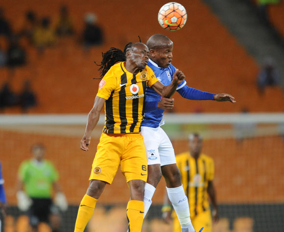 Sibusiso Masina of Black Aces is challenged by Reneilwe Letsholonyane of Kaizer Chiefs  during the Absa Premiership match between Kaizer Chiefs and Black Aces  on 27 October 2015 at FNB Stadium Pic Sydney Mahlangu/ BackpagePix
