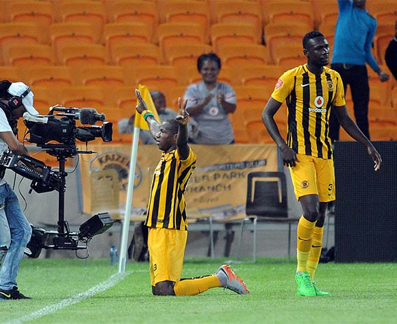 Camaldine Abraw of Kaizer Chiefs celebrates a goal with teammates during the Absa Premiership match between Kaizer Chiefs and Black Aces  on 27 October 2015 at FNB Stadium Pic Sydney Mahlangu/ BackpagePix