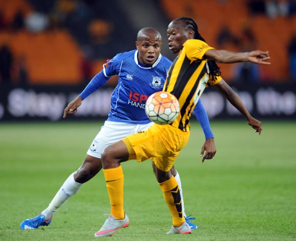 Lebogang Manyama of Black Aces is challenged by Reneilwe Letsholonyane of Kaizer Chiefs  during the Absa Premiership match between Kaizer Chiefs and Black Aces  on 27 October 2015 at FNB Stadium Pic Sydney Mahlangu/ BackpagePix