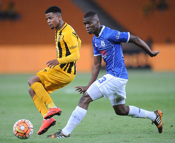 George Lebese of Kaizer Chiefs is challenged by Mpho Matsi of Black Aces during the Absa Premiership match between Kaizer Chiefs and Black Aces  on 27 October 2015 at FNB Stadium Pic Sydney Mahlangu/ BackpagePix