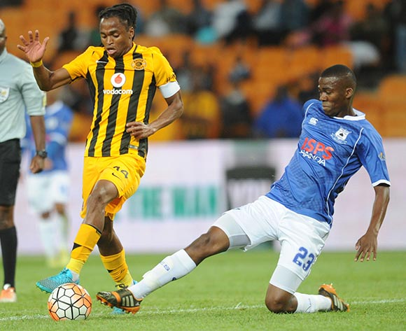 Siphiwe Tshabalala of Kaizer Chiefs is challenged by Mpho Matsi of Black Aces during the Absa Premiership match between Kaizer Chiefs and Black Aces  on 27 October 2015 at FNB Stadium Pic Sydney Mahlangu/ BackpagePix