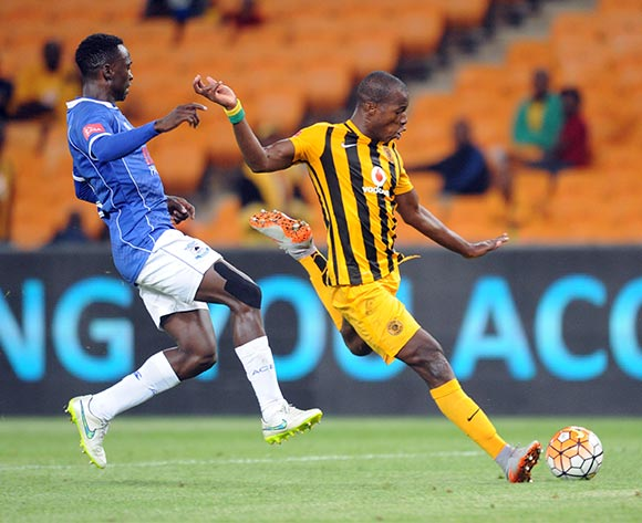 Camaldine Abraw of Kaizer Chiefs is challenged by Limbikani Mzava of Black Aces during the Absa Premiership match between Kaizer Chiefs and Black Aces  on 27 October 2015 at FNB Stadium Pic Sydney Mahlangu/ BackpagePix