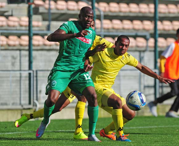 Sifiso Hlanti of AmaZulu and Chad Robertson of Milano battle for possession during the National First Division 2015/16 game between Milano United and AmaZulu at Athlone Stadium, Cape Town on the 28 October 2015 ©Ryan Wilkisky/BackpagePix