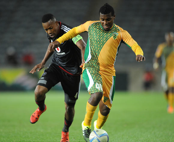 Mabhudi Khenyeza of Golden Arrows is challenged by Happy Jele of Orlando Pirates during the Absa Premiership match between Orlando Pirates and Golden Arrows  on 28 October 2015 at Orlando Stadium  Pic Sydney Mahlangu/ BackpagePix