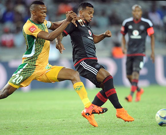 Matome Mathiane of Golden Arrows challenges Kermit Erasmus  of Orlando Pirates during the Absa Premiership match between Orlando Pirates and Golden Arrows  on 28 October 2015 at Orlando Stadium  Pic Sydney Mahlangu/ BackpagePix