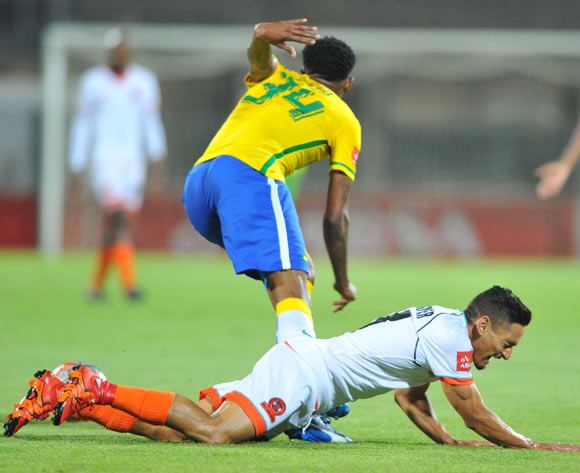 Cole Alexander of Polokwane City challenged by Bongani Zungu of Mamelodi Sundowns during the Absa Premiership match between Mamelodi Sundowns and Polokwane City at the Lucas Moripe Stadium in Pretoria, South Africa on October 28, 2015 ©Samuel Shivambu/BackpagePix
