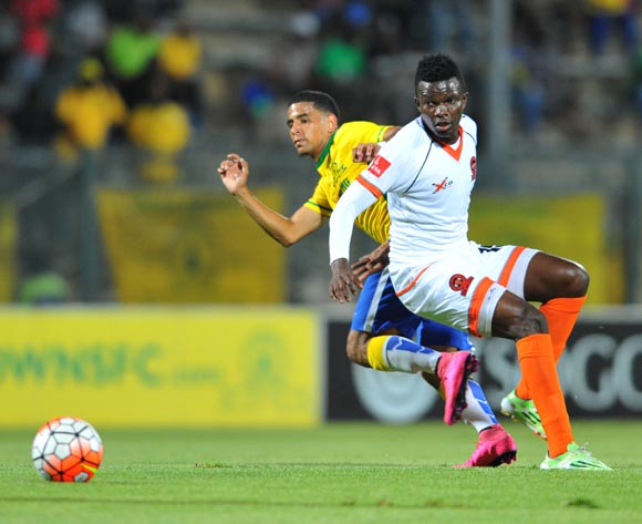 Boban Bogere of Polokwane City challenged by Keagan Dolly of Mamelodi Sundowns during the Absa Premiership match between Mamelodi Sundowns and Polokwane City at the Lucas Moripe Stadium in Pretoria, South Africa on October 28, 2015 ©Samuel Shivambu/BackpagePix
