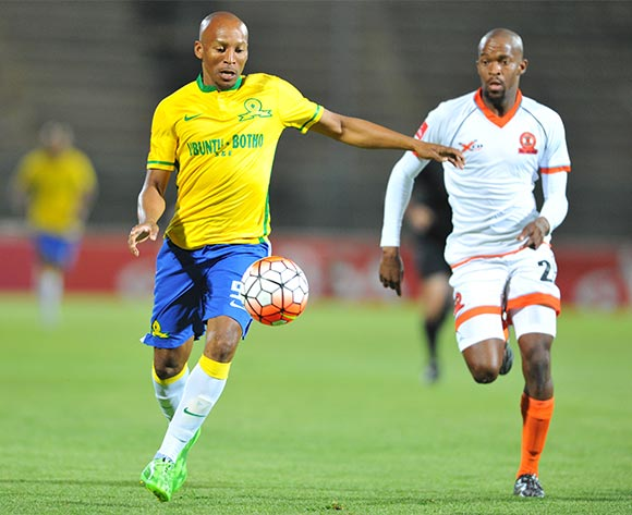 Katlego Mashego of Mamelodi Sundowns challenged by Sibusiso Mbonani of Polokwane City during the Absa Premiership match between Mamelodi Sundowns and Polokwane City at the Lucas Moripe Stadium in Pretoria, South Africa on October 28, 2015 ©Samuel Shivambu/BackpagePix