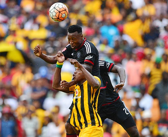 Siyabonga Sangweni of Orlando Pirates wins header against Camaldine Abraw of Kaizer Chiefs  during the 2015/16 Absa Premiership football match between Kaizer Chiefs and Orlando Pirates at Soccer City in Johannesburg, South Africa on 31 October 2015 ©Gavin Barker/BackpagePix